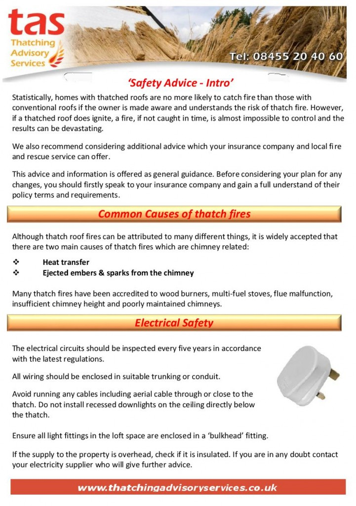 Thatching Advisory Services - Safety Advice Leaflet
